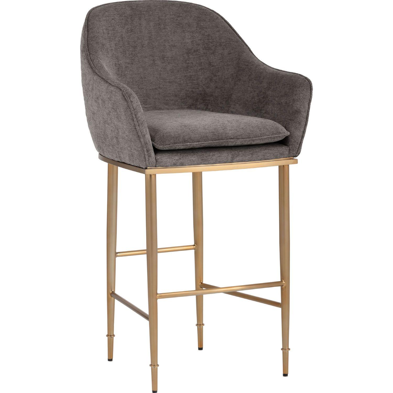Sunpan 103146 Bowman Bar Stool Driftwood Grey Fabric On Brushed Gold Stainless In 2020 Counter Stools Bar Stools Grey Bar Stools