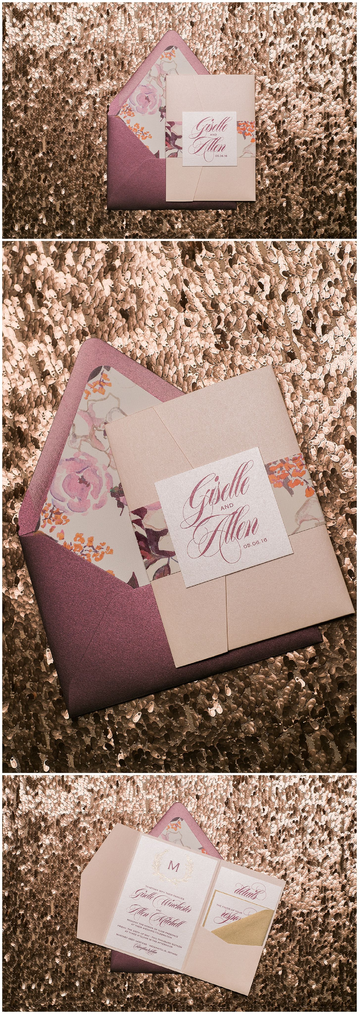 wedding stationery folders%0A Wedding Invitations  Blush and Burgundy  Foil and Digital Printing  Floral  Details  Giselle