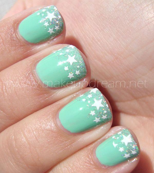 Verde Menta Estrellado | Nails Art | Pinterest | Verde menta, Menta ...