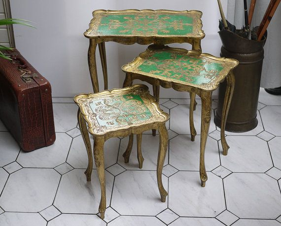 Vintage Italian Florentine Nesting 3 Tables Gilded Gold and ...