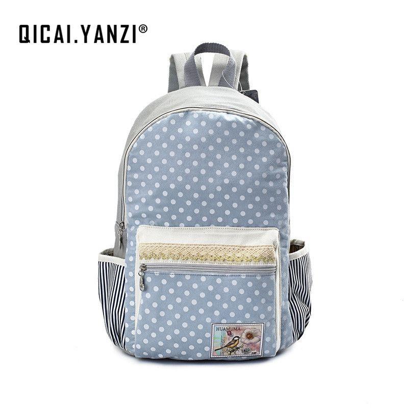 0a1a80c2e2 YANZI Dot Laptop Backpacks for Teenager Girls School Canvas Lace Bagpack  Mochila College Student