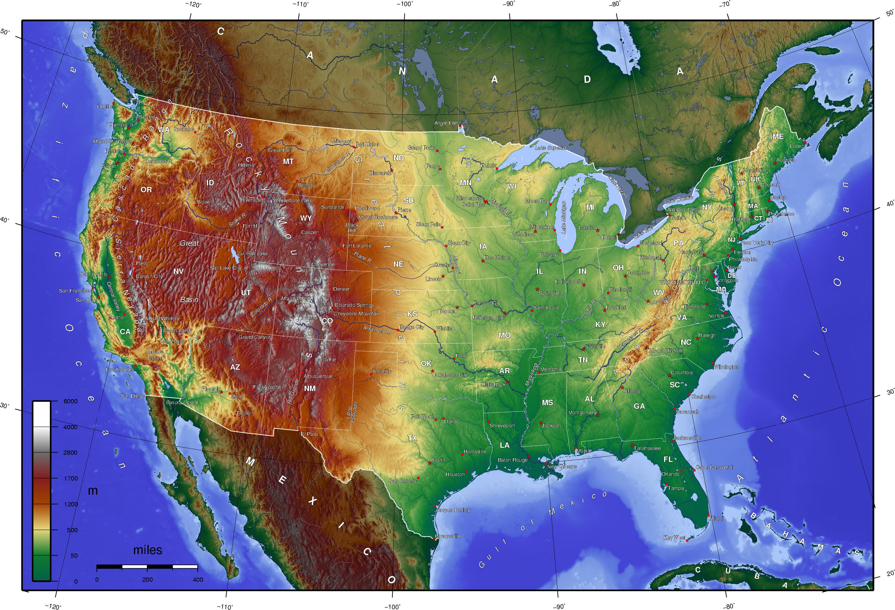 USA high contrast elevation map [2980x2031] | Map Happy | Geography ...