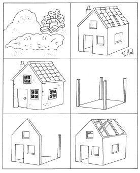 werkblad logische volgorde huis huizen bouwen bouw