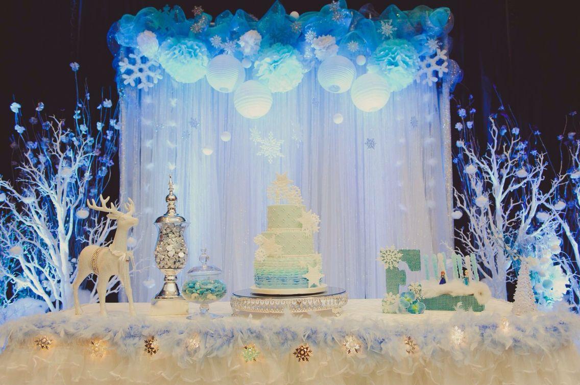 Frozen Themed Backdrop Winter Wonderland Birthday Party Frozen Birthday Theme Frozen Decorations