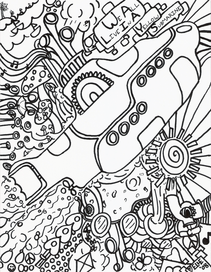 american hippie art ~ zentangle coloring page .. beatles