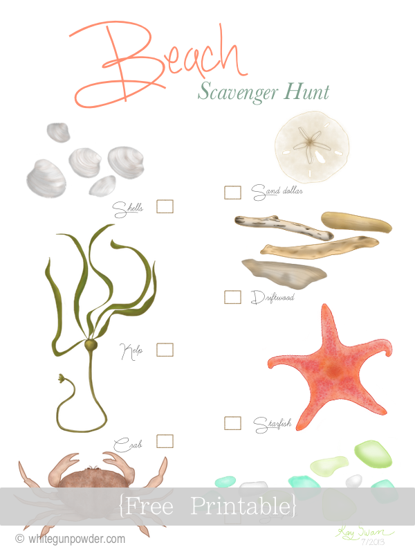 Beach, Scavenger Hunt Print to use or frame | Follow this ...