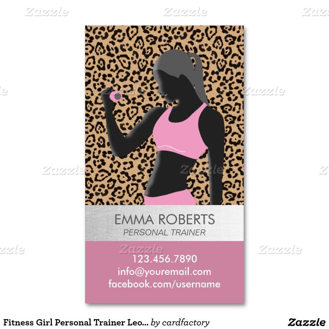 Fitness girl personal trainer leopard print modern business card fitness girl personal trainer leopard print modern business card reheart Images