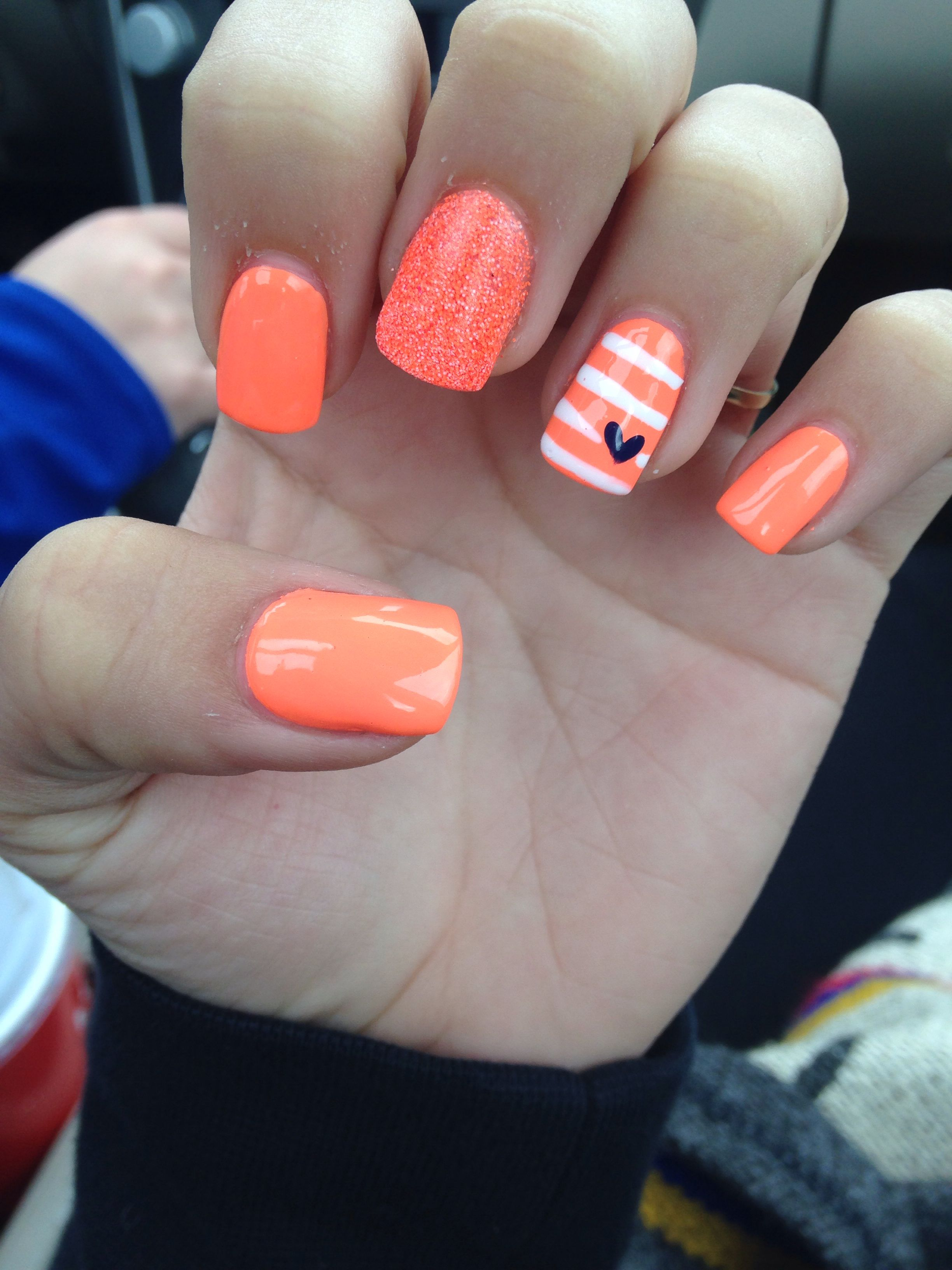 Orange acrylic nails art manicure beauty stripes glitter