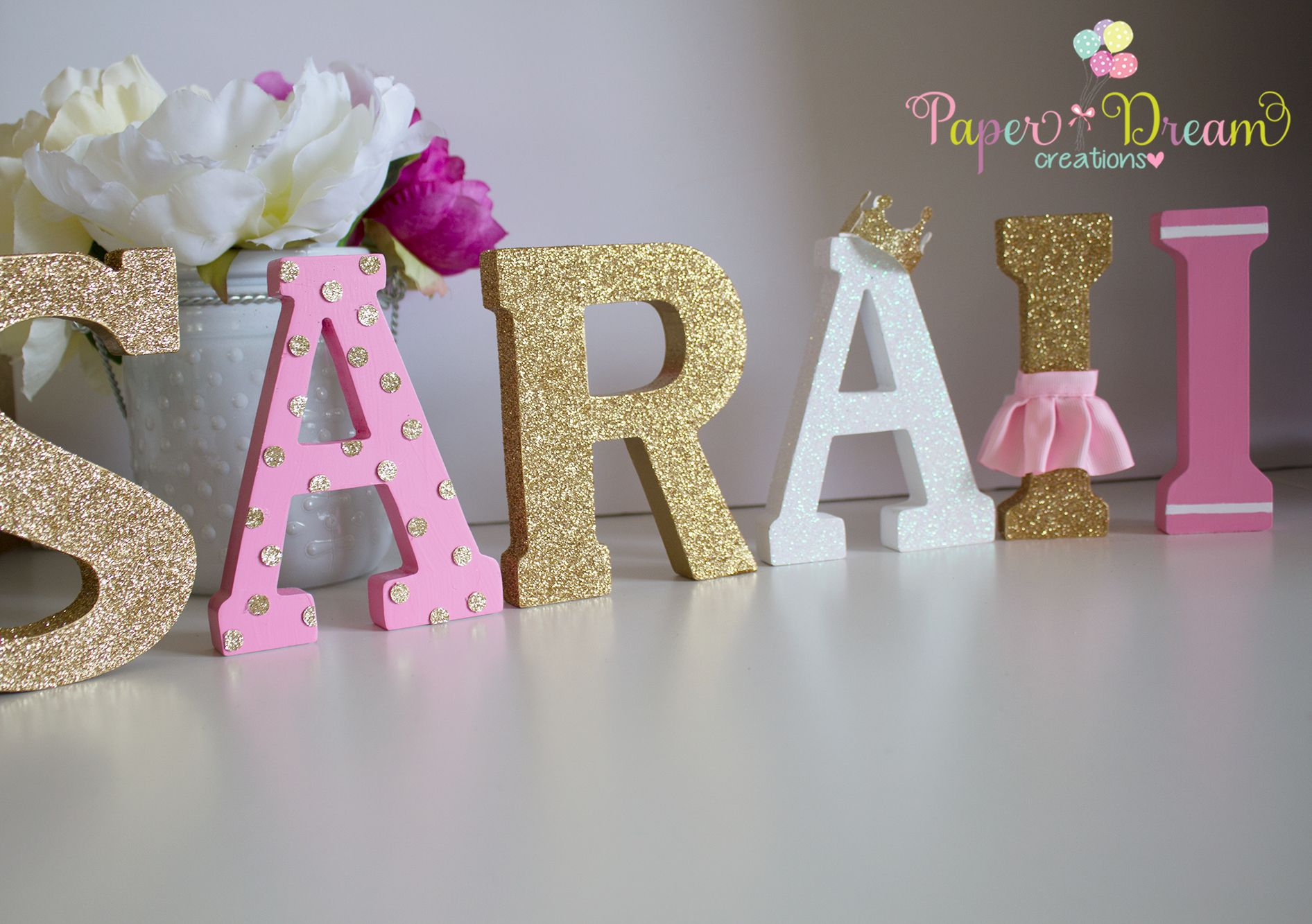 Princess Name Wood Letters Wood Letters Letter A Crafts Birthday Party Decorations