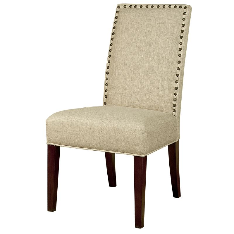 Elegant beige studded nail head dining chairs tan for Studded dining room chairs