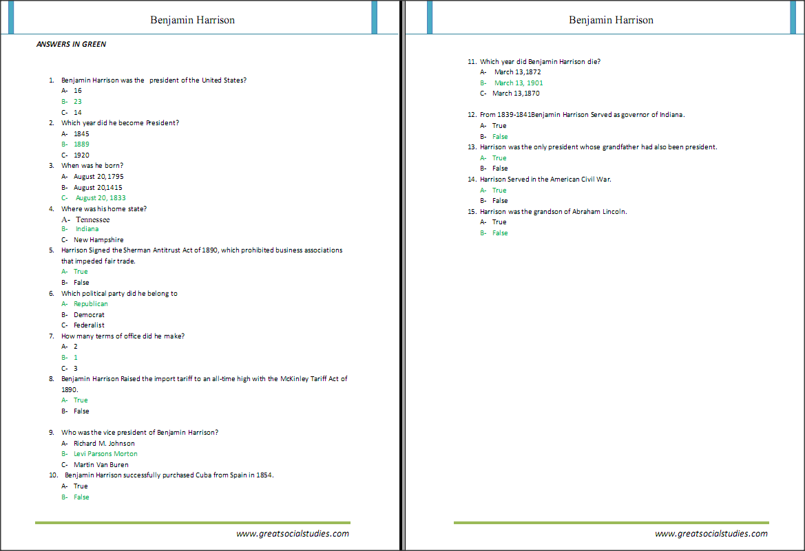 Educational Worksheets On Harrison Benjamin Great Social