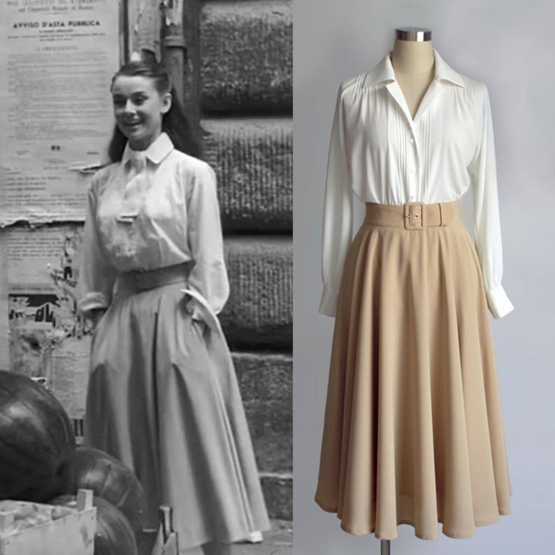Vintage/ Audrey Hepburn/ Roman Holiday/ Jupe/ Jupe circulaire/ Jupe 1950/Jupe faite sur mesure