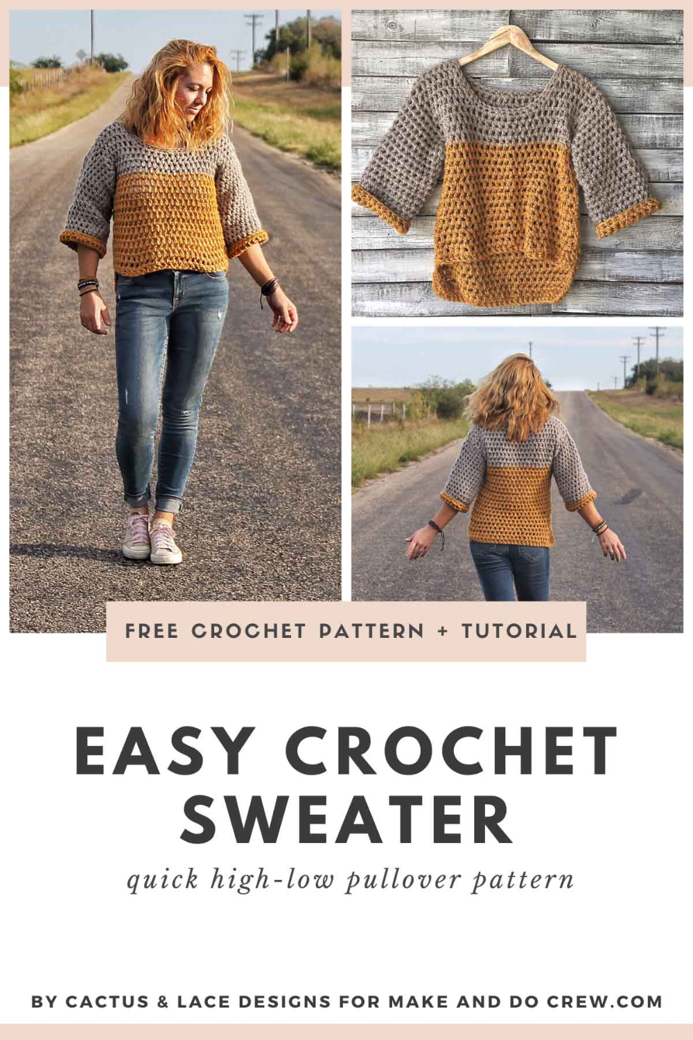 The Weekender Pullover - Fast Crochet Sweater Pattern + Tutorial » Make & Do Crew