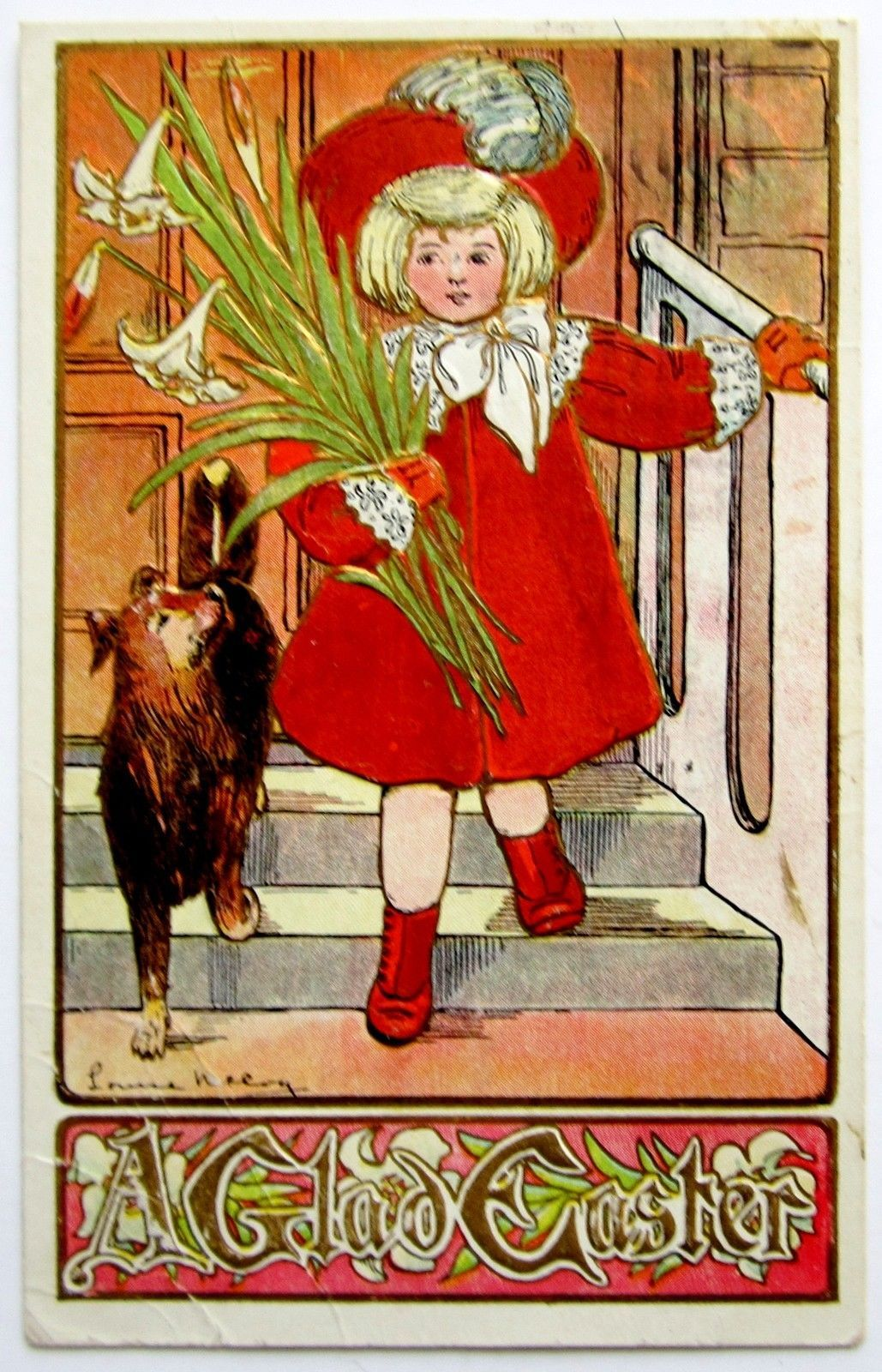 A s Louise McCoy Art Deco Easter Girl Puppy Dog Postcard Emb Gold   eBay