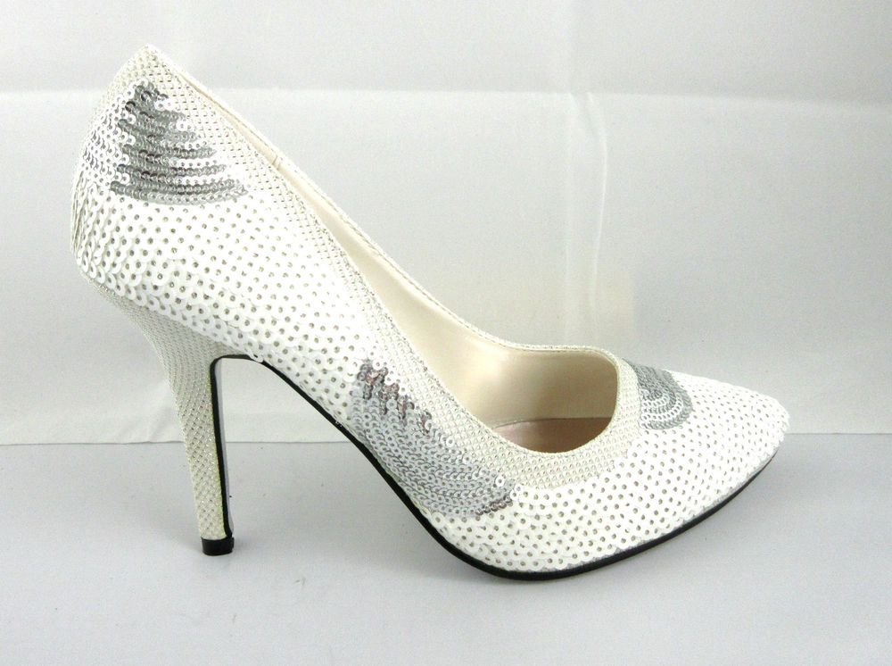 e6f0b1751c0a Womens High Heels Sexy Stilettos Sequin Shoes Formal Nightout White Black  Red