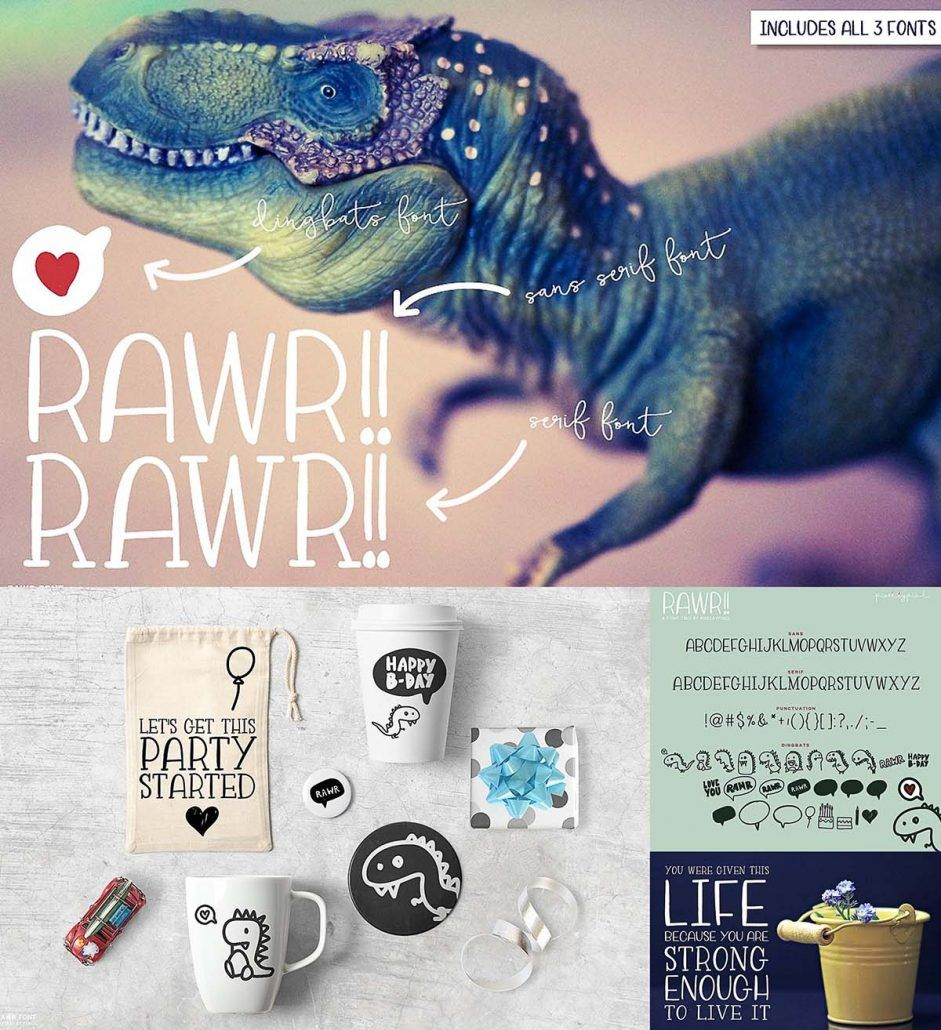 Rawr sans serif font trio | FONTS for FREE! | Sans serif