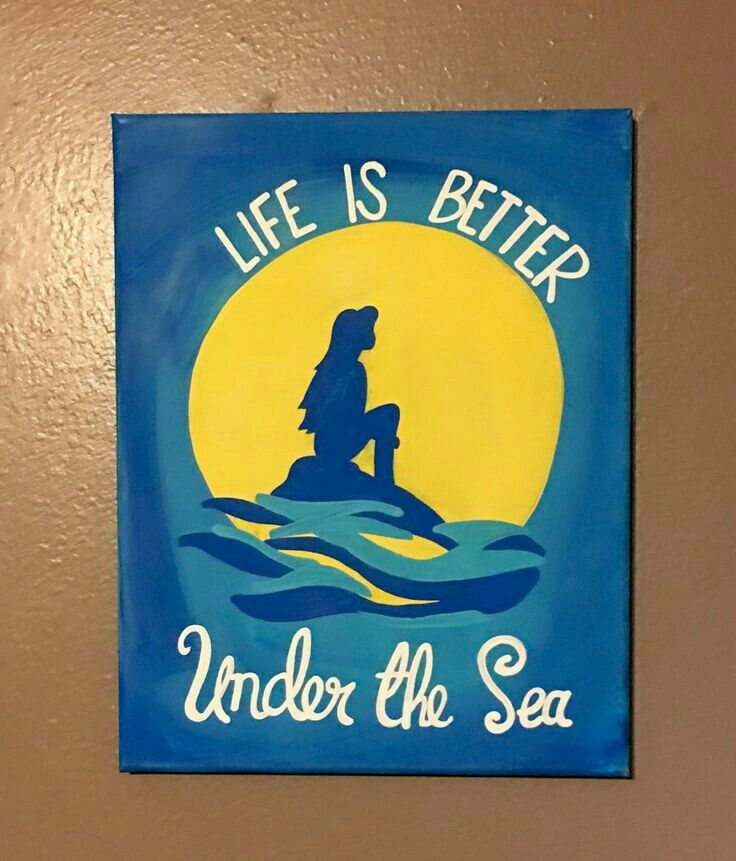 Items Similar To Little Mermaid Hand Painted Canvas On Etsy