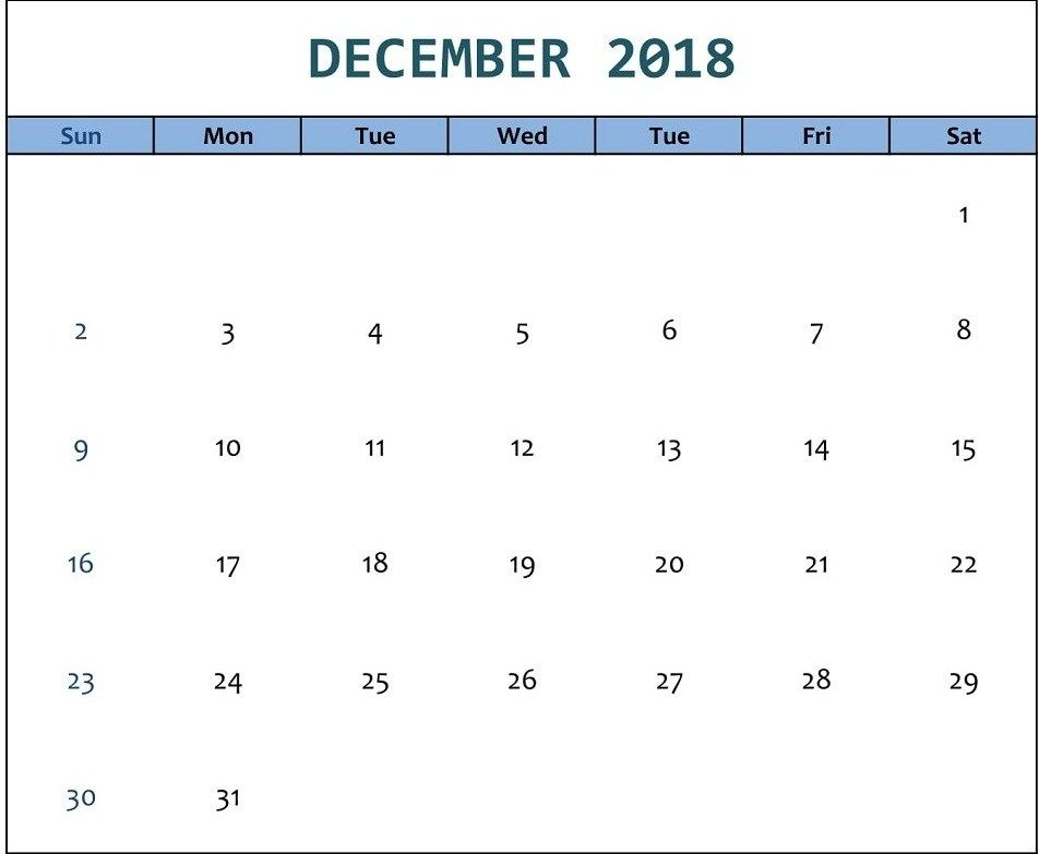 December 2018 Calendar Excel December 2018 Calendar Printable