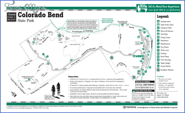 COLORADO BEND STATE PARK MAP TEXAS This state park in central