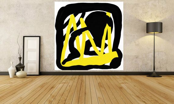 PAINTINGS Large Big Huge Painting Black White yellow Square | hand ...