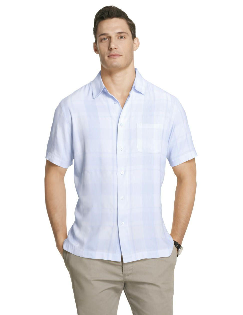2ee04571 Good looking and versatile short sleeve Button-Down with a barely there  large check pattern over all.