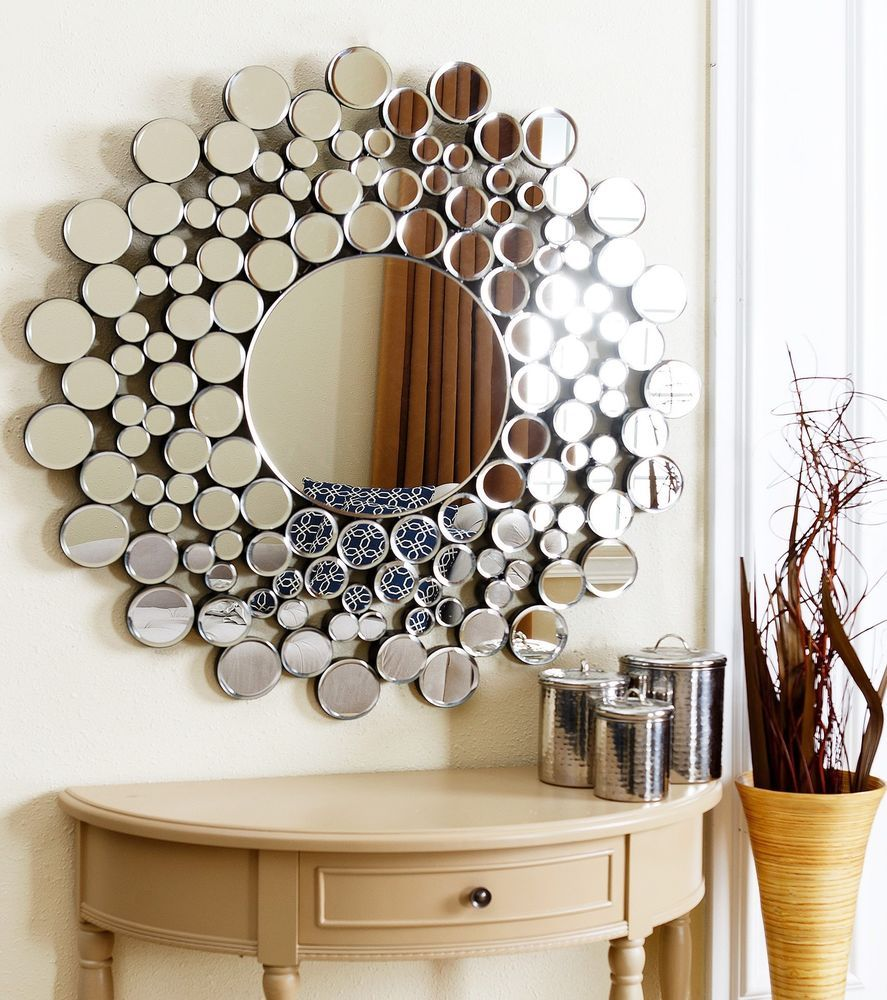 Round Wall Mirror Frame Bubble Sophisticated Stylish Silver Touch