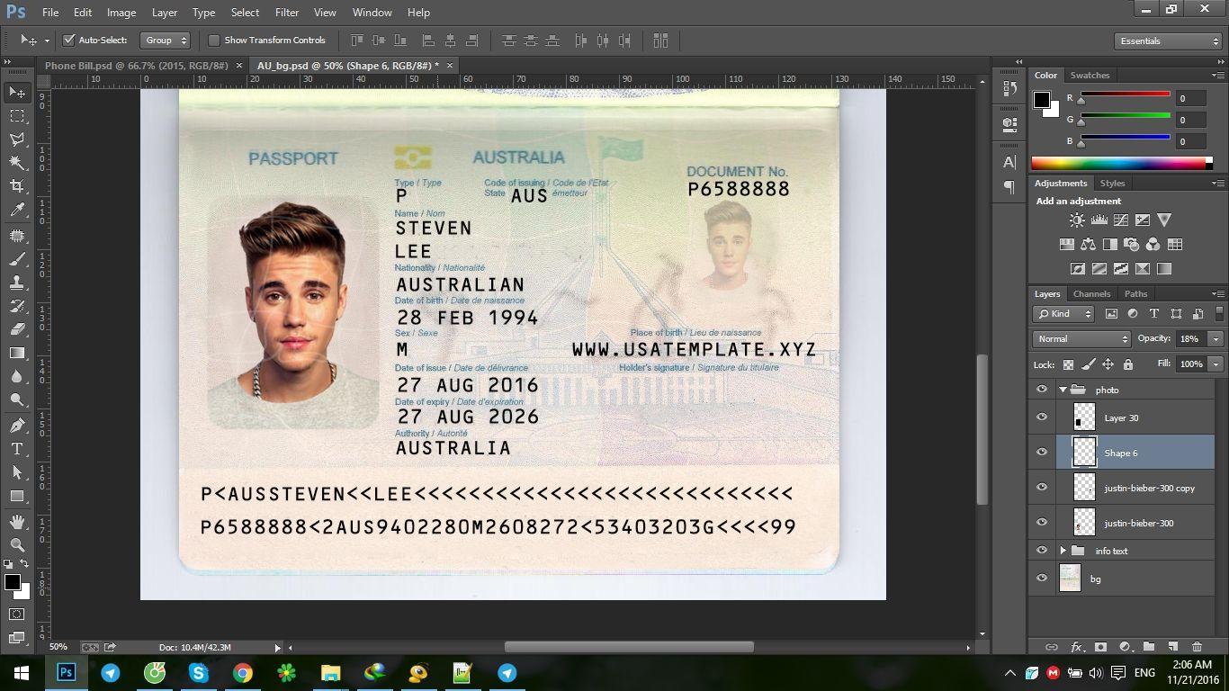 us passport template psd