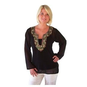 Cool summery sheer embroidered black tunic kurta is perfect over swimmers or a singlet top and is great for beach or pool      - Available upto size 16    - Made from Polyester    - Very comfortable to wear    - Side slits for extra comfort    - Can be machine washed in a Laundry Bag    - Has a lovely fitted look, but is not tight