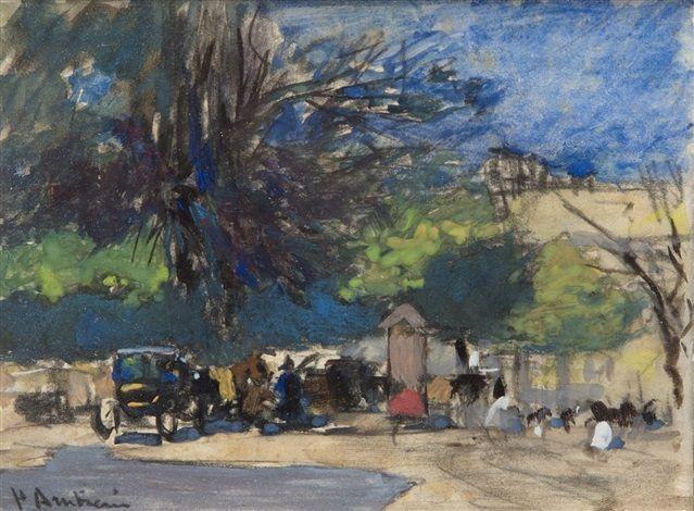 Floris Arntzenius (1864-1925) - Wachtend rijtuig op plein