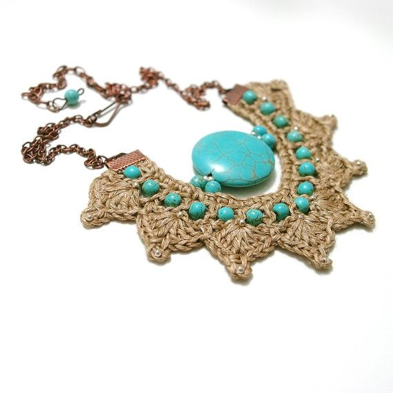 Crochet linen necklace turquoise necklace blue by BertuteDesign
