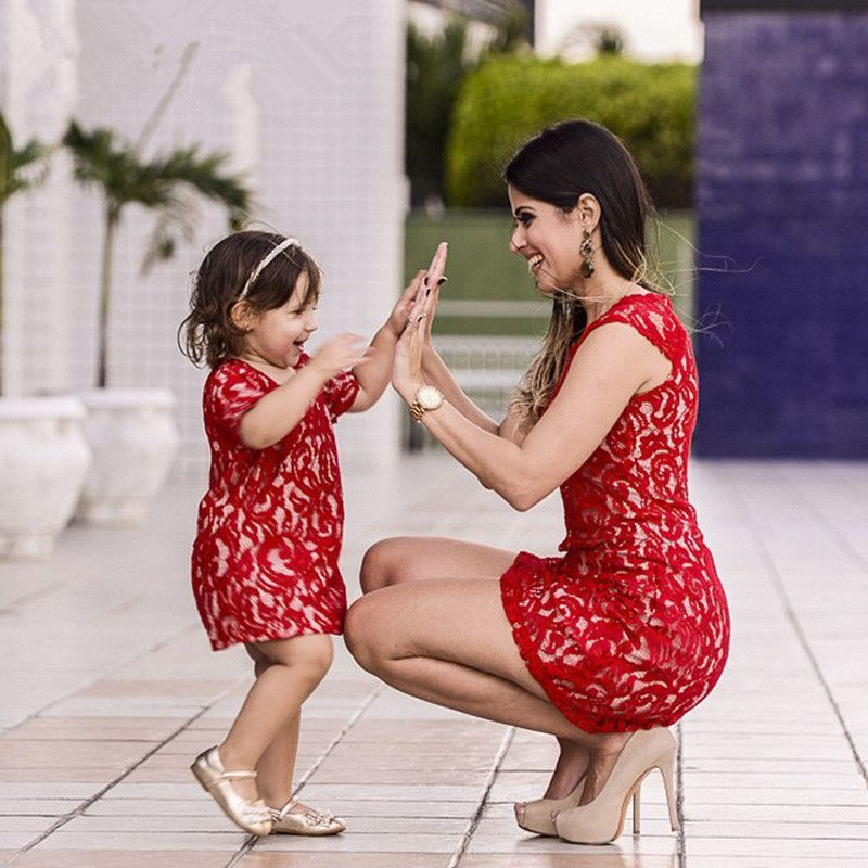 9c2805a2b70 Mother Daughter Dresses Red Lace Matching Mother Daughter Clothes A-line Dress  Mom And Daughter Dress Family Clothing
