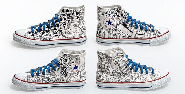 59fa7bafc17f9b Converse - Custom -  sketch  high tops in 2019