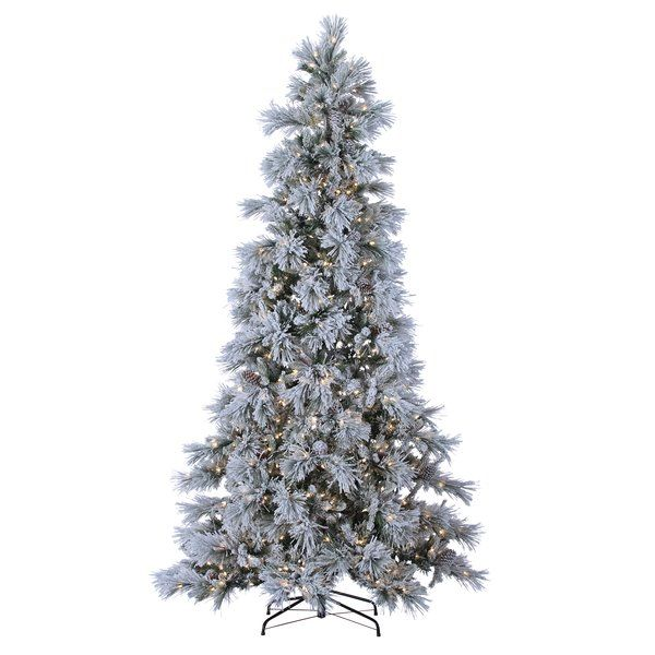 9\u0027 Green Pine Artificial Christmas Tree with 900 LED Cool White