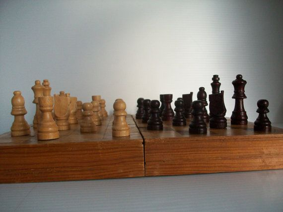 vintage wooden chess set . chess set wooden box . by GTDesigns