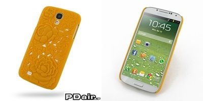 PDair Embossed Plastic Hard Back Cover for Samsung Galaxy S4 SIV LTE GT-i9500 GT-i9505 - Rose Blossom Series (Orange)