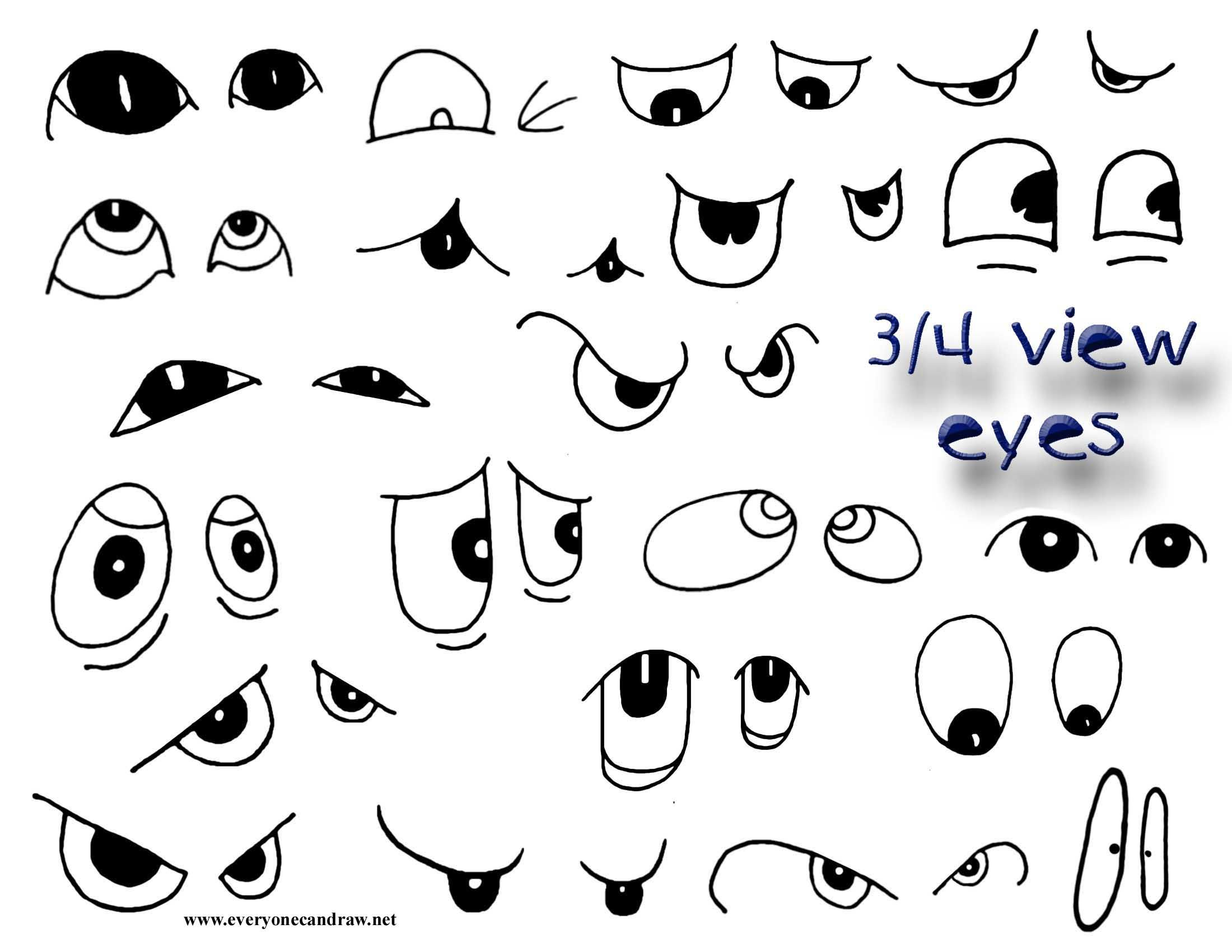 Three Quarter View Cartoon Eyes Cartoon Drawings Cartoon Eyes Drawings