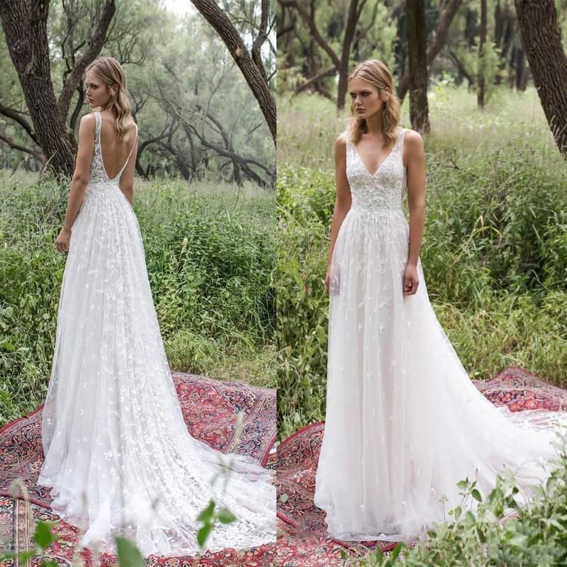 Long Lace V-Neck Vintage Country Bohemian  Beach Simple Soft Wedding Dresses with train ,WD0302 11