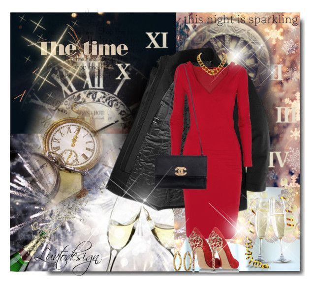"""Time"" by luvtodesign ❤ liked on Polyvore featuring Donna Karan, Chanel, Zimmermann, Casadei, Lauren Ralph Lauren, red, dresses, coats and NewYearsEve"