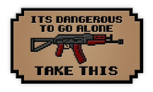 It is dangerous to go alone Pistol PVC Patch with Hook /& Loop Airsoft