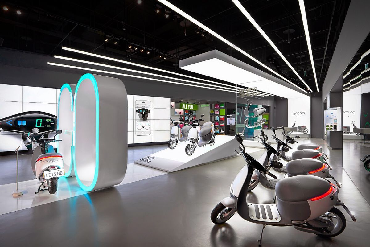 Https Www Behance Net Gallery 26136699 Gogoro Experience Center Experience Center Showroom Interior Design Kiosk Design