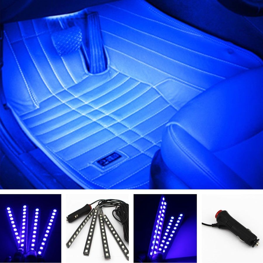 Car Styling 4 In1 12v 6w Blue 4 12 Led Decorative Mood Foot Light Colorful Truck Charge Interior Atmosphere Daytime Running Lamp Interiores Led Leds