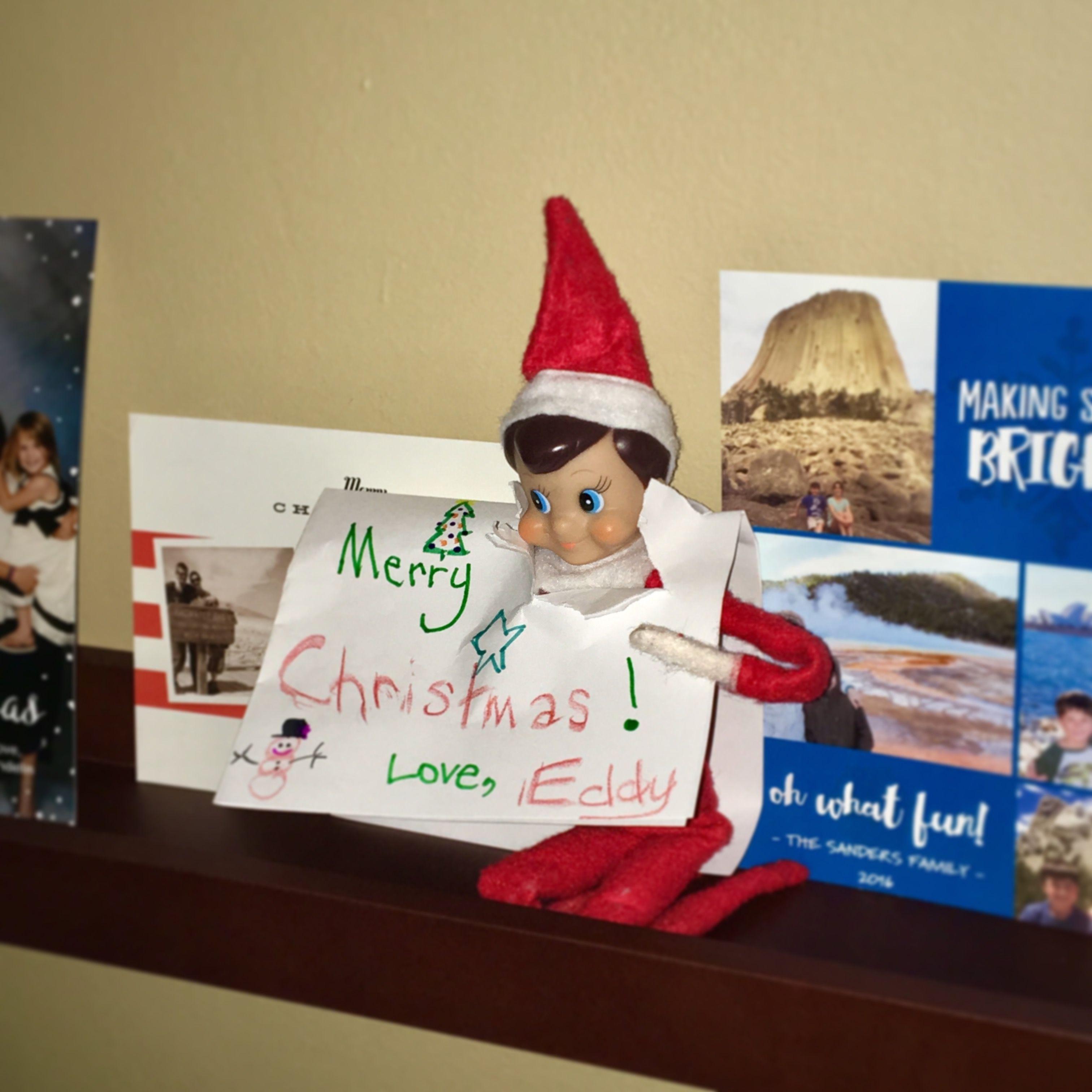 Eddy wanted to send a Christmas card, too! #elfontheshelf | Eddy ...
