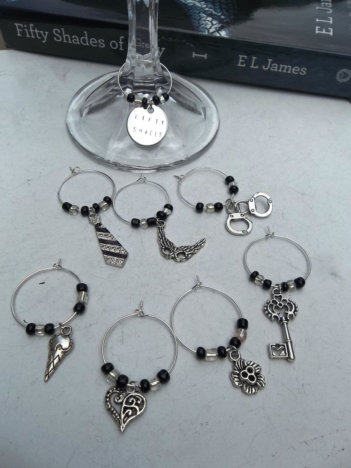 50 Shades of Grey wine glass charms