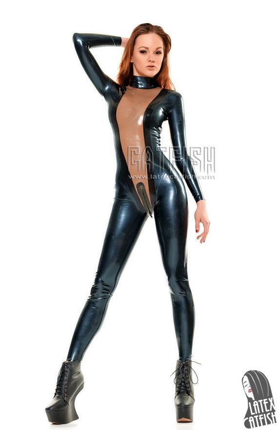 Sexy girl in latex catsuit