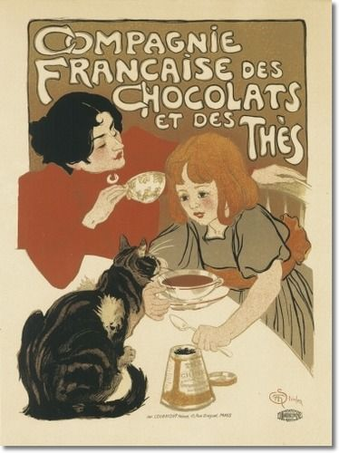 French Chocolate & Tea Company With Cat 1896 - Canvas Poster
