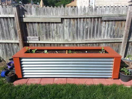 Wood Planter Box With Decorative Metal Siding Wood Planters Garden Planter Boxes Metal Planters
