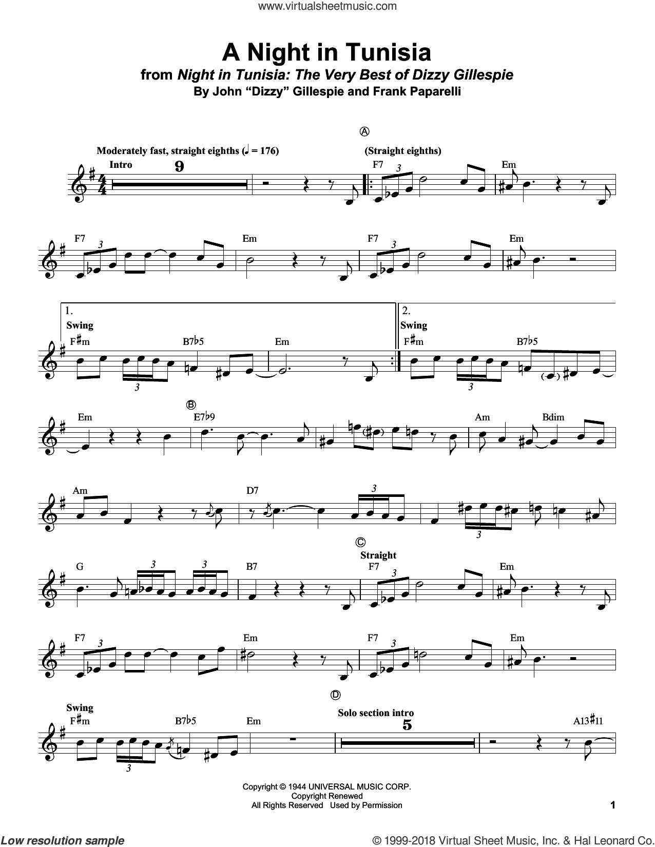 Dizzy Gillespie A Night In Tunisia : dizzy, gillespie, night, tunisia, Gillespie, Night, Tunisia, Sheet, Music, Trumpet, (transcription), Music,, Virtual