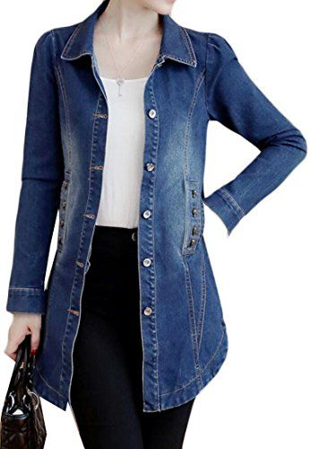 ARRIVE GUIDE Womens Casual Lapel Button Down Long Denim Jackets with Pocket  Blue Medium 1038dfe184