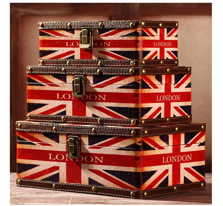 Set of 3 Wooden British Flag Suitcase Vintage Retro Storage Boxes Decorative Box #Unbranded