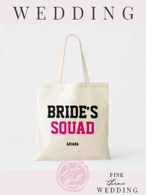 Bride's Squad Black & Pink Bridesmaid Tote Bag    Bride's Squad Black & Pink Bridesmaid Tote Bag